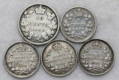 1899 1907 1914 1919 5C Canada 5 Cents SOME HIGH GRADE!! + 1900 10C .99 START!!