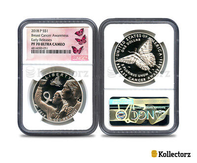 2018 P Proof $1 Silver Breast Cancer Awareness Ultra Cameo Pf70 Early Releases!