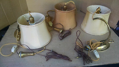 3 Vintage Colonial Premiere Portable Wall Sconces W/swingarm & Counter Weight