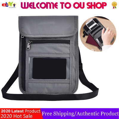 Travel Passport Neck Pouch RFID Blocking Wallet Bag Holder Card  Phone Organizer