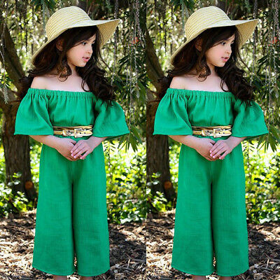 US Kids Baby Girls Summer Off-shoulder Romper Jumpsuits Trousers Outfits Clothes