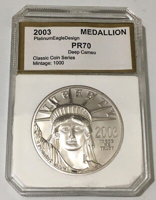 2003 Platinum Eagle Design Clad Proof Medallion in Slab