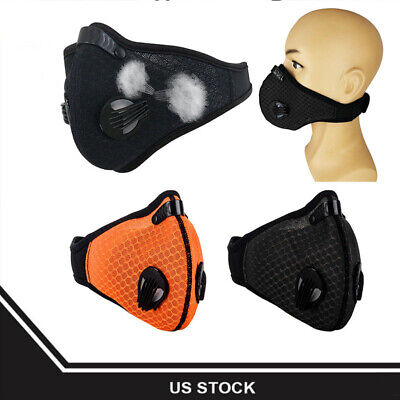 Unisex Outdoor Sport Anti Smoke Dust Air Purifying Face Mask Filter Black/Orange
