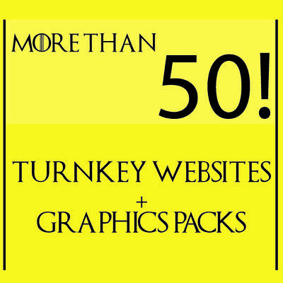 50+ Turnkey Websites and Graphics Packs + Resell lisences!!!