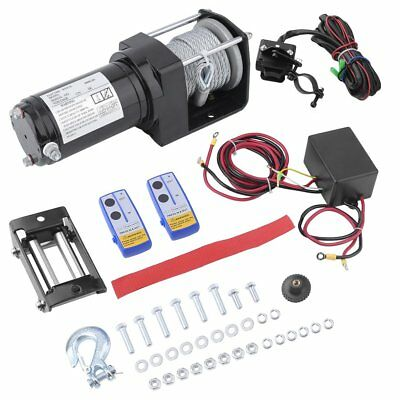 Wireless 3000LBS/2041kg 12V Electric Winch Boat ATV 4WD Steel Cable 2 Remote AA+