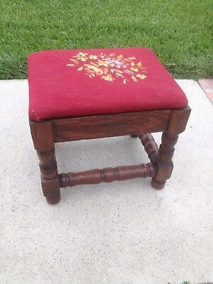 Antique Quartered Oak Footstool Needlepoint