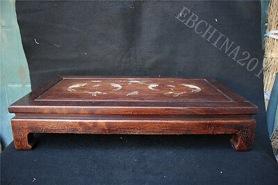 """24"""" Old chinese Collect Huanghuali Wood Inlay shell Fish Tea Table Writing Desk"""