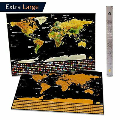 Scratch Off World Map Extra Large Traveller Gift 32 x 23