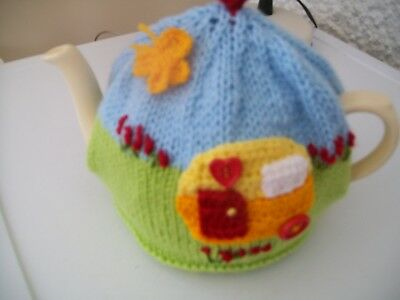 Hand Knitted Caravan  Tea Cosy For A Medium Teapot 3-4 Cup Size