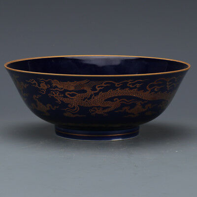 One Lovely Chinese Ming Blue Glaze Porcelain Dragon Bowl