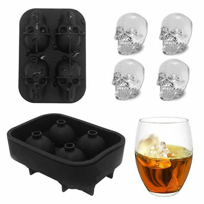 Silicone 3D Skull Shape Ice Cube Tray Mould Cocktails Whisky Maker Black UKSTOCK