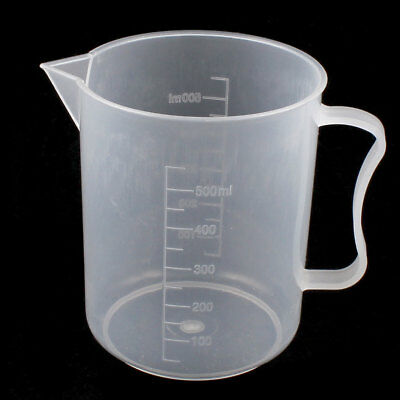 Lab Chemistry Graduated Plastic Liquid Water Testing Measuring Measure Cup 500mL