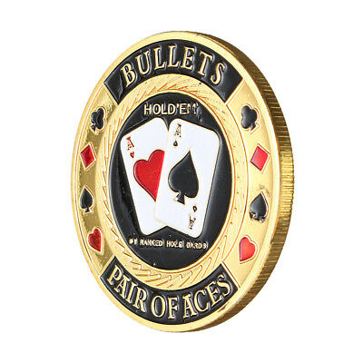 Metal Poker Guard Card Protector Coin Chip Gold Plated With Round Plastic