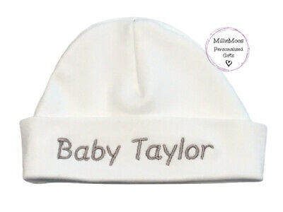 Personalised Embroidered Baby Hat - Unisex Girl Boy Gift - Add any name