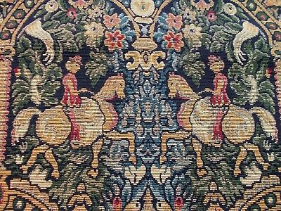 Antique French Tapestry Panel~Fragment~Medieval Design~Birds~Horses~Riders