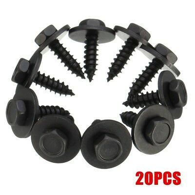20pcs SELF TAPPING TAPPER SCREW & WASHER For BMW 4.8 x 19mm BLACK 8mm HEX HEAD