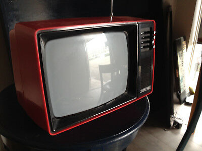 Vintage Rare RED Television TV 60s early 70s Possibly works Analogue