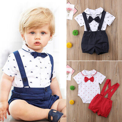 2PCS Newborn Infant Baby Boy Outfits Clothes Set Romper Bodysuit+Gentleman Pants