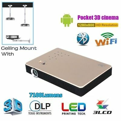 Mini DLP Projector Android Wifi 3D 4K Full HD 1080p Video Cinema Ceiling Hanger