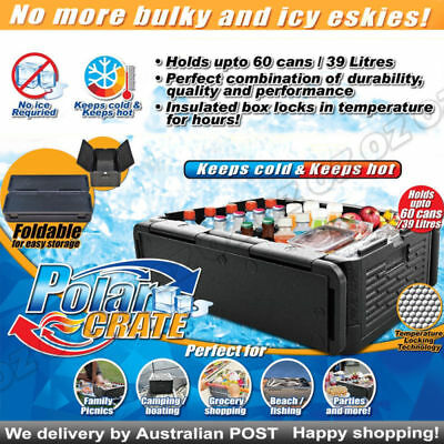 Polar Crate Insulated Collapsible Cooler KEEPS FOOD DRINK HOT OR CHILL COLD