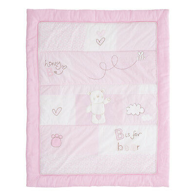 Obaby B Is For Bear Quilt & Bumper 2 Piece Set - Pink - New