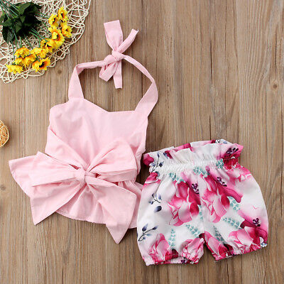 Newborn Toddler Infant Baby Girl Clothes Bowknot Tops+Foral Shorts Outfits Sets