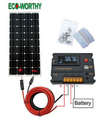 100W Solar Panel kit 12V battery Charge w/ Controller Caravan Boat Home Camp RV