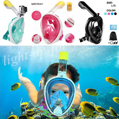 Full Face Snorkeling Snorkel Mask Swimming Scuba Diving Breather Pipe for Gopro