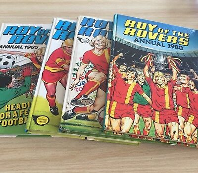 Set of 4 Vintage Roy Of The Rovers Annuals 1980,1982,1984 & 1985