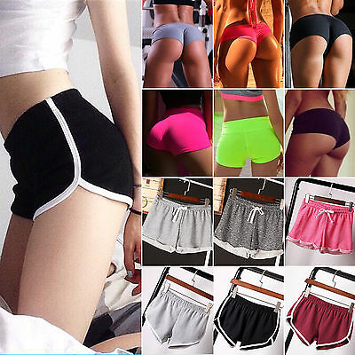 Womens Girl Elastic High Waist Sports Hot Pants Athletic Gym Yoga Shorts Bottoms
