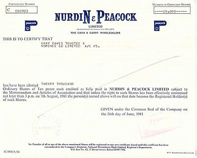 UNITED KINGDOM 1981, NURDIN & PEACOCK Ltd. - The Cash & Carry Wholesalers, Zert.