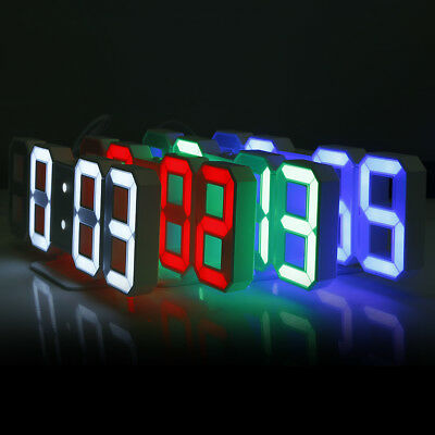 New! 3D Modern LED Digital Alarm Clocks 24 / 12 Hours Display Nightlight Snooze