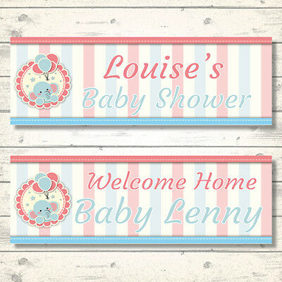 2 Personalised Baby Shower-Anymessage Banners With Elephant
