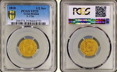 1818 George Iii Gold Half Sovereign; Pcgs Graded Vf
