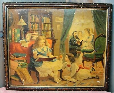 """Antique Book Advertising Lothrop Color Storybook Framed Print """"Victorian Family"""""""