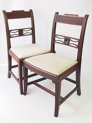Pair Antique Regency Mahogany Side Chairs - Georgian Side Hall dining Desk Chair