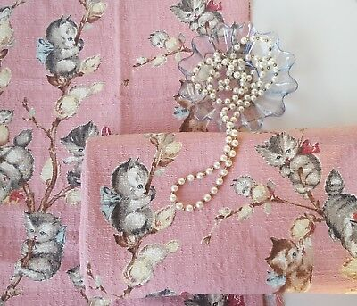 VINTAGE RARE 1950s PUSSY WILLOW NOVELTY BARKCLOTH FABRIC- Pink & Adorable!