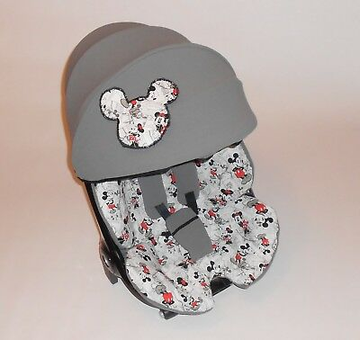 Quinny Moodd hood cover , T-  bar cover, shoulder  pads, bow in  grey / mickey m