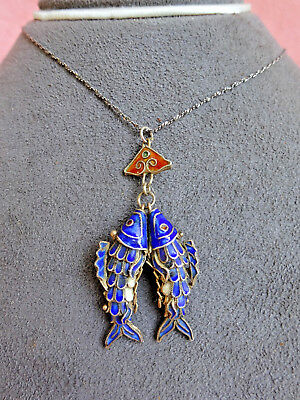 Vintage Chinese Export Silver Enamel Articulated Double Fish Pendant Necklace