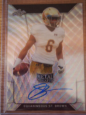2018 Leaf Metal Draft Equanimeous Eq St. Brown Wave Prizm Auto Green Bay Packers