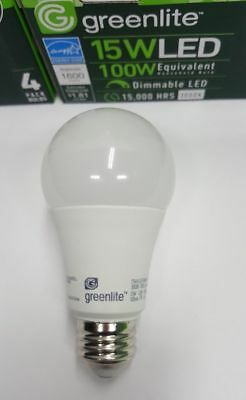 8 LED Light Bulbs GREENLITE 15W 1600 Lumens ! Bright White 3000K A19 Dimmable