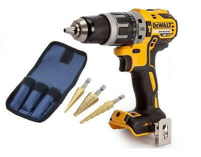 Dewalt DCD796N Combi Drill 18V XR Brushless Compact + 3pc HSS Step Drill Set