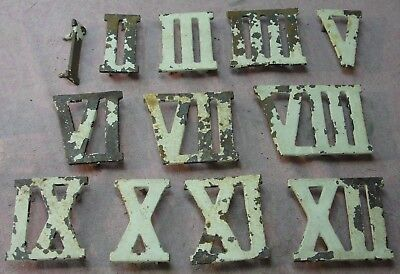Antique Roman Numeral Clock Number Lot I - XII Cast Iron Architectural Salvage