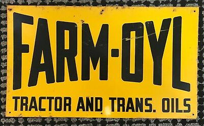 Vintage Farm Oyl Tractor And Trans. Oils Metal Sign - 10 x 17 - Oil Advertising