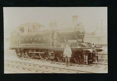 Railway LB & SCR tank engine at East Croydon with crew pre1919 RP PPC by Pouteau