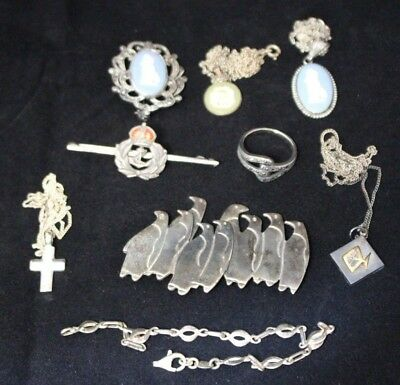 Job Lot of 60g Sterling Silver 925 Jewellery  -  Necklaces Rings Broaches - 250