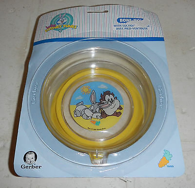 Vintage NEW 1997 Gerber Baby Looney Tunes Bugs Bunny Taz Devil Suction Cup Bowl
