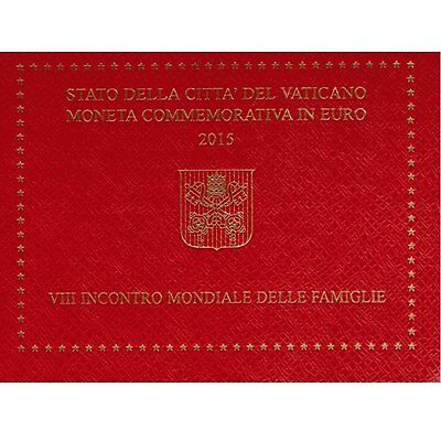 "2015 Vatican 2 Euro BU Coin ""8th World Meeting of Families"" in Folder"
