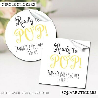 GLOSSY Ready To Pop Yellow Personalised Baby Shower Party Favours STICKERS