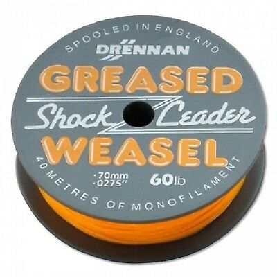 Drennan Greased Weasel Shock  Leader Various  Colours  40 Mtr Spools